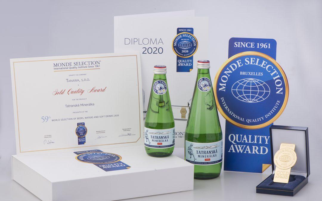 TATRANSKÁ MINERÁLKA získala medzinárodné ocenenie Gold Quality Award od Monde Selection
